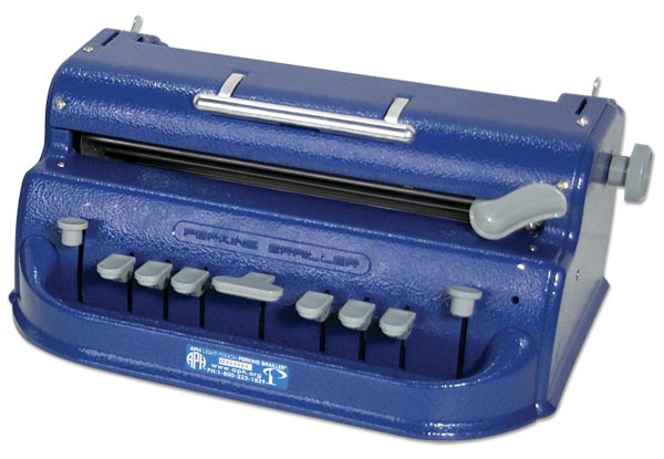 A braillewriter is similar to a typewriter, but it embosses dots